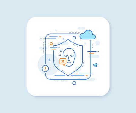 Face declined line icon. Abstract vector button. Human profile sign. Facial identification error symbol. Face declined line icon. Protect shield concept. Vector