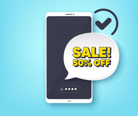 Sale 50 percent off discount. Mobile phone with alert notification message. Promotion price offer sign. Retail badge symbol. Customer service app banner. Sale badge shape. Vector