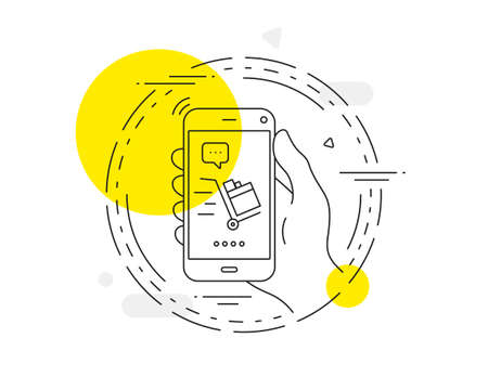 Push cart line icon. Mobile phone vector button. Delivery service sign. Express shipping symbol. Push cart line icon. Abstract concept badge. Vector Иллюстрация