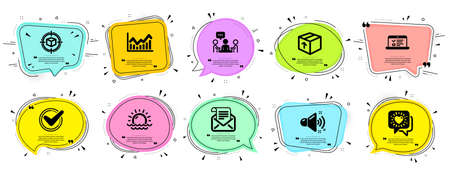 Business icons set. Speech bubble offer banners. Vector coupon badge. Included icon as Friends chat, Confirmed, People chatting signs. Web lectures, Infochart, Mail newsletter symbols. Vector Иллюстрация