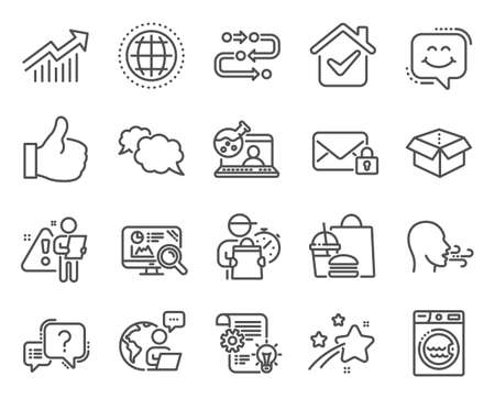 Technology icons set. Included icon as Open box, Seo analytics, Online chemistry signs. Methodology, Like, Breathing exercise symbols. Demand curve, Question mark, Cogwheel. Smile chat. Vector Vecteurs