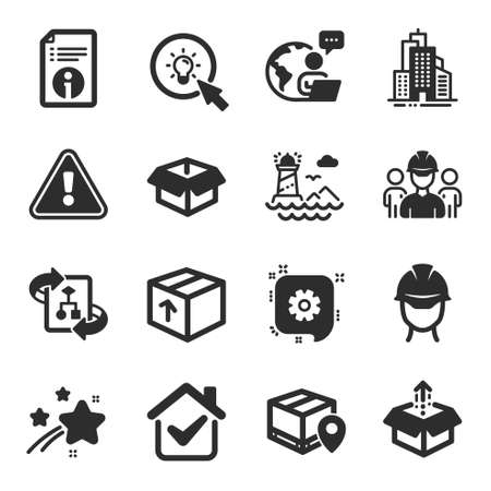 Set of Industrial icons, such as Cogwheel, Engineering team, Technical info symbols. Parcel tracking, Package, Lighthouse signs. Send box, Foreman, Skyscraper buildings. Energy, Opened box. Vector Иллюстрация
