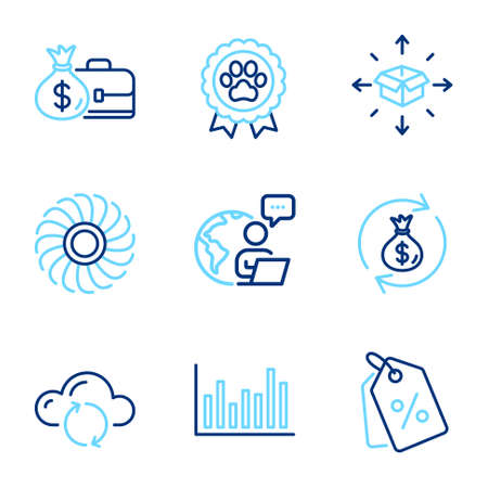 Business icons set. Included icon as Salary, Cloud sync, Money exchange signs. Discount tags, Dog competition, Bar diagram symbols. Fan engine, Parcel delivery line icons. Line icons set. Vector
