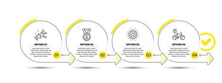 Winner star, Ole chant and Best rank line icons set. Timeline process infograph. Bicycle parking sign. Best award, Megaphone, Success medal. Bike park. Sports set. Infographics timeline banner. Vector