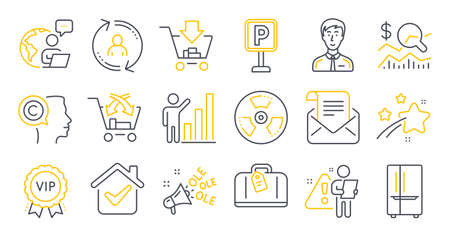 Set of Business icons, such as Cross sell, Graph chart, Ole chant symbols. Check investment, Refrigerator, Mail newsletter signs. User info, Writer, Parking. Shopping, Chemical hazard. Vector