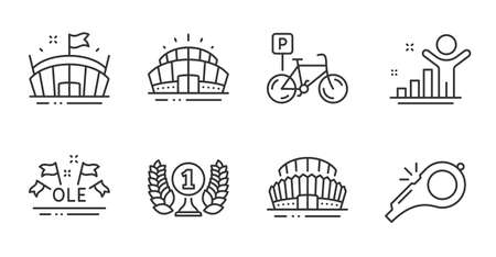 Bicycle parking, Winner and Sports stadium line icons set. Ole chant, Arena and Arena stadium signs. Laureate award, Whistle symbols. Bike park, Best result, Sport championship. Sports set. Vector Vecteurs