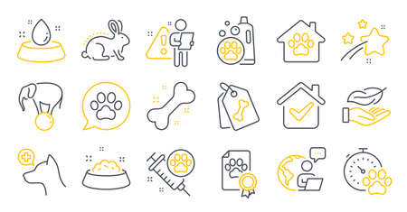 Set of Animals icons, such as Lightweight, Veterinary clinic, Pets care symbols. Dog competition, Pet shampoo, Animal tested signs. Dog certificate, Pet shelter, Water bowl line icons. Vector