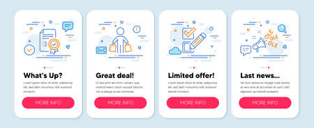 Set of Business icons, such as Checkbox, Buyer, Certificate symbols. Mobile app mockup banners. Ole chant line icons. Survey choice, Shopping customer, Verified document. Megaphone. Vector