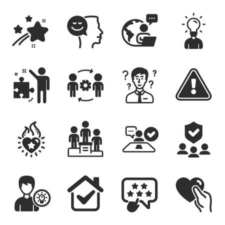 Set of People icons, such as Good mood, Support consultant, Person idea symbols. Heart flame, Ranking star, Security agency signs. Business podium, Education, Strategy. Hold heart. Vector