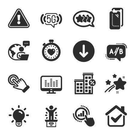 Set of Technology icons, such as Scroll down, 5g wifi, Winner podium symbols. Smartphone glass, Loan house, Stars signs. Touchscreen gesture, Heartbeat timer, Graph chart. Music making. Vector