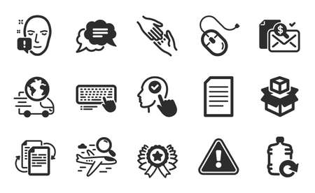 Computer keyboard, Helping hand and Bureaucracy icons simple set. Face attention, Select user and Refill water signs. Search flight, Accounting report and Text message symbols. Flat icons set. Vector