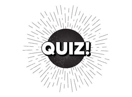 Quiz symbol. Vintage star burst banner. Answer question sign. Examination test. Hipster sun with rays. Retro vintage starburst element. Sunburst rays bubble. Quiz banner. Vector