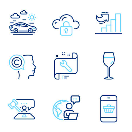 Business icons set. Included icon as Cloud protection, Wine glass, Car travel signs. Smartphone buying, Spanner, Writer symbols. Judge hammer, Growth chart line icons. Line icons set. Vector