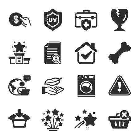 Set of Business icons, such as Get box, Lightweight, Medical insurance symbols. Winner podium, Fireworks stars, Dog bone signs. Washing machine, Payment, Fragile package. Uv protection. Vector Vektoros illusztráció