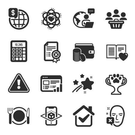 Set of flat icons, such as Reject certificate, Love book, Restaurant food symbols. Atom, Augmented reality, Face declined signs. Winner cup, World money, Calculator. Web report, Buyers. Vector