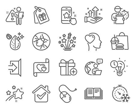 Business icons set. Included icon as Love letter, Freezing timer, Friend signs. Time management, Add gift, Fireworks stars symbols. Dirty water, Education, Coupons. Bed bugs, Exit. Vector