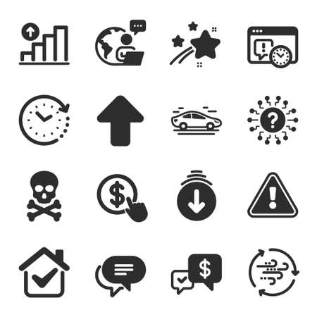 Set of Technology icons, such as Payment received, Chemical hazard, Graph chart symbols. Scroll down, Time change, Upload signs. Question mark, Project deadline, Wind energy. Buy currency. Vector Vector Illustratie