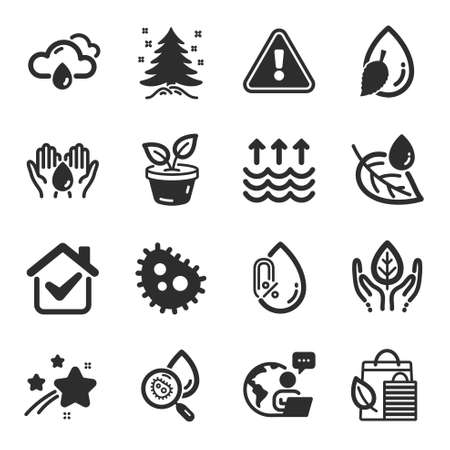 Set of Nature icons, such as Safe water, Christmas tree, Leaves symbols. No alcohol, Bacteria, Bio shopping signs. Fair trade, Water analysis, Leaf dew. Evaporation, Rainy weather. Vector