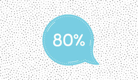 80 percent off Sale. Blue speech bubble on polka dot pattern. Discount offer price sign. Special offer symbol. Dialogue or thought speech balloon on polka dot background. Vector