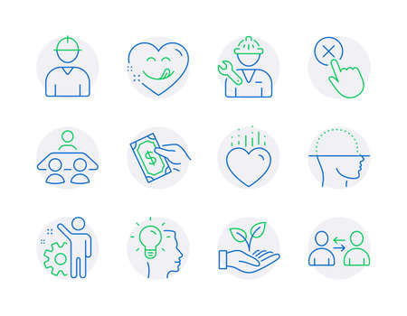 People icons set. Included icon as Pay money, Yummy smile, Employee signs. Interview job, Idea, Helping hand symbols. Engineer, Face scanning, Reject click. Repairman, Heart, Communication. Vector