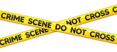 Crime Scene Do Not Cross tape. Attention police ribbon. Yellow warning barrier tape. Caution crime scene band. Do not cross police line. Violence accident place. Criminal vector illustration Ilustración de vector