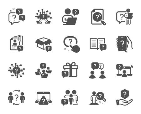 Questions icons. Artificial Intelligence computer, phone with Question mark, Problem solve. Quiz, faq guide, job interview icons. Ask person, question bubble, family problem. Vector