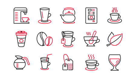 Coffee and Tea line icons. Cappuccino, Teapot and Coffeepot. Coffee beans linear icon set. Linear set. Quality line set. Vector