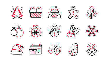 Christmas line icons. Santa hat, Snowflake and Gift box. New year linear icon set. Linear set. Quality line set. Vector