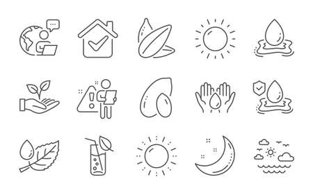 Peanut, Safe water and Sunny weather line icons set. Leaf dew, Moon stars and Sun energy signs. Water splash, Helping hand and Sunflower seed symbols. Travel sea, Flood insurance. Vector