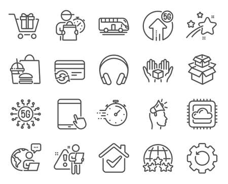 Technology icons set. Included icon as Headphones, Recovery gear, Brand ambassador signs. 5g upload, Bus tour, Timer symbols. 5g technology, Cloud computing, Change card. Rating stars. Vector