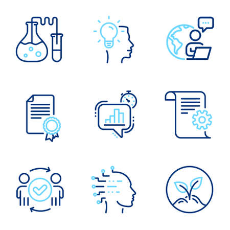 Education icons set. Included icon as Chemistry lab, Certificate, Statistics timer signs. Technical documentation, Artificial intelligence, Startup symbols. Approved teamwork, Idea. Vector