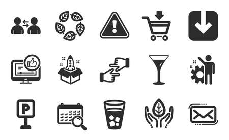 Martini glass, Search calendar and Communication icons simple set. Load document, Ice tea and Like video signs. Organic tested, Messenger mail and Fair trade symbols. Flat icons set. Vector