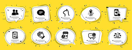 Business icons set. Speech bubble offer banners. Yellow coupon badge. Included icon as Ole chant, Heart rating, Users signs. Takeaway coffee, Fireworks, Pets care symbols. Vector Vecteurs
