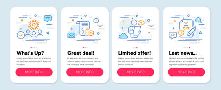Set of Science icons, such as Customer survey, Coronavirus, Medical prescription symbols. Mobile app mockup banners. Algorithm line icons. Contract, Who, Medicine drugs. Project. Vector