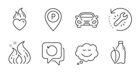 Recovery tool, Water bottle and Recovery data line icons set. Fire energy, Parking and Speech bubble signs. Car, Heart flame symbols. Backup info, Mint leaf drink, Flame. Business set. Vector