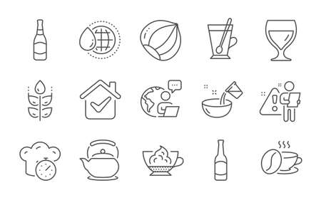 Espresso cream, Wine glass and Cooking water line icons set. Hazelnut, Teapot and Beer signs. Coffee cup, Beer bottle and World water symbols. Gluten free, Tea mug and Cooking timer. Vector Vetores