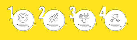 Correct checkbox, Startup rocket and Time change line icons set. Timeline process infograph. Throw hats sign. Answer, Business innovation, Clock. College graduation. Education set. Vector