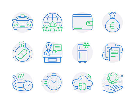 Business icons set. Included icon as Timer, Capsule pill, Money wallet signs. 5g cloud, Refrigerator, Taxi symbols. Frying pan, Money bag, Exhibitors. Bureaucracy, Rating stars line icons. Vector