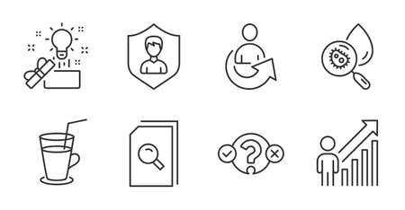 Share, Security agency and Creative idea line icons set. Search files, Cocktail and Water analysis signs. Quiz test, Employee result symbols. Referral person, People protection, Present box. Vector
