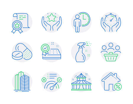 Line icons set. Included icon as Ranking, Skyscraper buildings, Buyers signs. Cleaning spray, Timer, Circus symbols. Medical drugs, Certificate, Correct answer. Waiting, Mattress guarantee. Vector