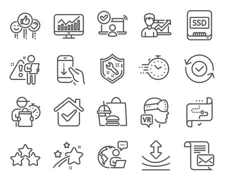 Technology icons set. Included icon as Success business, Augmented reality, Target path signs. Spanner, Online access, Mail letter symbols. Security confirmed, Resilience, Ranking stars. Vector Vetores