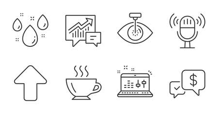 Payment received, Coffee and Eye laser line icons set. Rainy weather, Upload and Accounting signs. Sound check, Microphone symbols. Money, Cappuccino, Optometry clinic. Business set. Vector