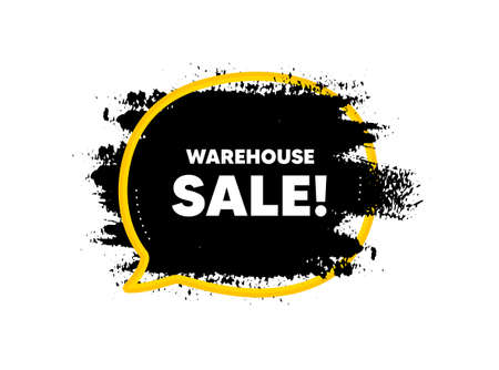 Warehouse sale. Paint brush stroke in speech bubble frame. Special offer price sign. Advertising discounts symbol. Paint brush ink splash banner. Warehouse sale badge shape. Vector