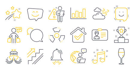 Set of Business icons, such as Smile face, Identification card, Clock bell symbols. Stairs, Winner cup, Windy weather signs. Smile, Ship, Vip shopping. Messenger, Wineglass, Report diagram. Vector