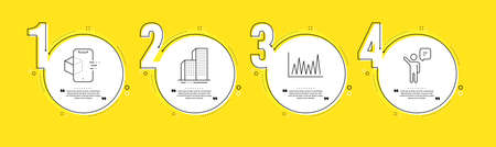 Skyscraper buildings, Line graph and Augmented reality line icons set. Timeline process infograph. Agent sign. Town architecture, Market diagram, Phone simulation. Business person. Vector 일러스트