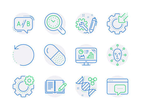 Science icons set. Included icon as Ab testing, Feedback, Time management signs. Seo gear, Analytics graph, Face biometrics symbols. Engineering, Recovery data, Capsule pill. Cogwheel. Vector 일러스트