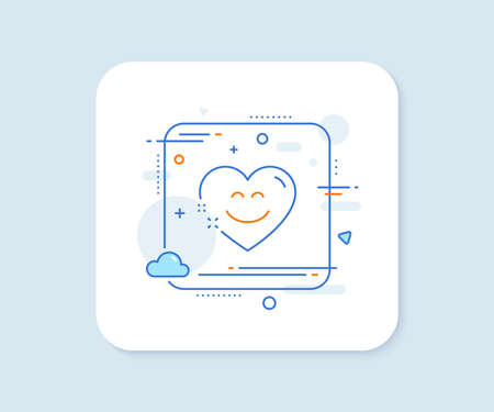 Smile chat line icon. Abstract square vector button. Happy emoticon sign. Heart speech bubble symbol. Smile chat line icon. Quality concept badge. Vector 일러스트