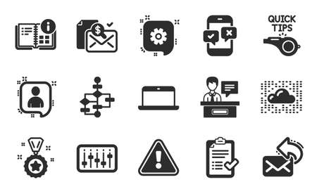 Cloud system, Accounting report and Winner reward icons simple set. Tutorials, Cogwheel and Developers chat signs. Exhibitors, Instruction info and Share mail symbols. Flat icons set. Vector