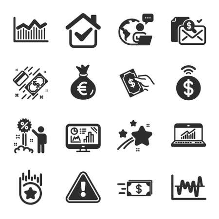 Set of Finance icons, such as Money bag, Money diagram, Loyalty star symbols. Accounting report, Contactless payment, Payment signs. Online statistics, Stock analysis, Discount flat icons. Vector