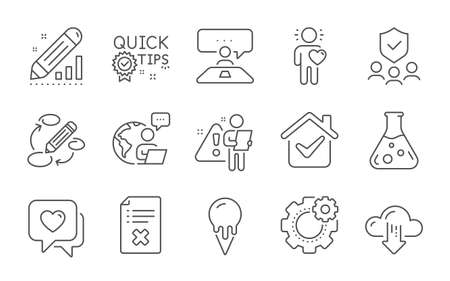 Keywords, Friend and Chemistry lab line icons set. Quick tips, Reject file and Edit statistics signs. Ice cream, Heart and Security agency symbols. Interview job, Cloud download and Cogwheel. Vector